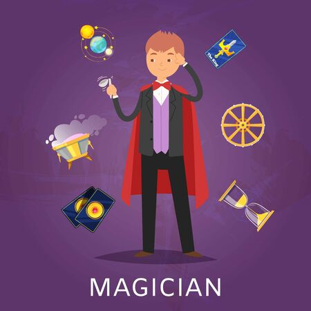 Magician or illusionist in hat and mantle with magic cards, shperes and tools for performance cartoon vector illustration. Illusion poster with magical performance.