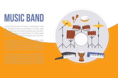 Rock or jazz musical band instruments banner, vector illustration. Concert poster, musical party, card, flyer or website. Musical band instruments drums set and electronical piano with typography. Foto de archivo - 138463822