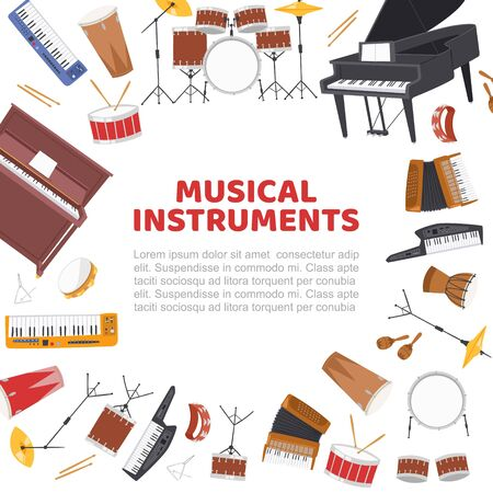 Musical instruments frame for live music concert vector poster illustration. Design of drums, jazz band musical instruments, piano and music notes stave isolated on white with text space for poster. Imagens - 138464104