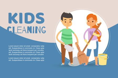 Children busy cleaning up apartments and helping mother vector banner illustration. Cartoon boy holding whisk and scoop and girl with mop and bucket. Cartoon kids cleaning floor for web banner. Illustration