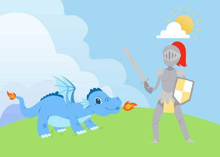Knight or swordsman fighting with fierce dragon breathing fire vector cartoon illustration. Legendary hero struggle evil monster. Scene from fairytale or legend. Knight and dragon for kids books.