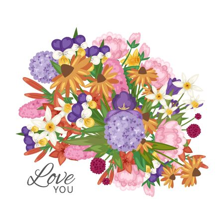 Garden flowers bouquet with love you text vector illustration. Floral romantic poster, card or invitation, valentines. Flourish greeting card. Blooming flowers isolated on white background. 일러스트