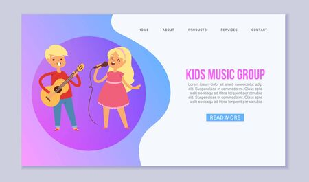 Cartoon kids playing musical instruments and singing vector web template of musical school. Illustration of childrens musicians band, caucasian girl sings songs and boy playing guitar website. Illustration
