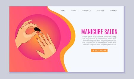 Manicure and nail art salon web template with female manicured hands and fingers with nail polisher bottle cartoon vector illustration. Manicure salon webpage.