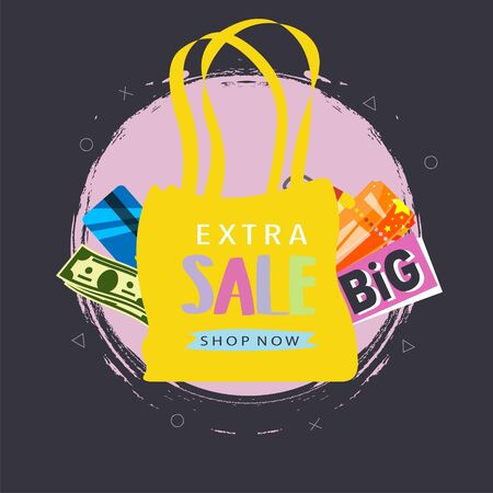 Extra sale shopping bags marketing poster vector illustration. Shopping paper bag with discount cards, dollars cash money and gifts special offer on black friday or christmas sales. Illustration