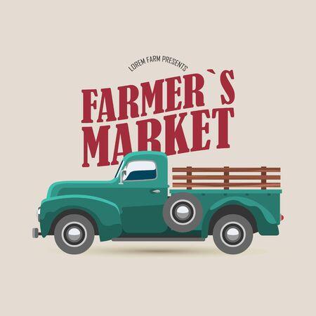 Logo du marché fermier avec illustration vectorielle de camion rétro et typographie. Vue latérale du vieux camion. Livraison de légumes et de fruits de produits frais écologiques de saison d'automne pour l'affiche ou la bannière du marché agricole.
