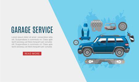 Garage auto service and car spares top view web vector template illustration. Auto diagnostics test service, protection insurance shop. Repair help. Garage auto cars service. Vector Illustration