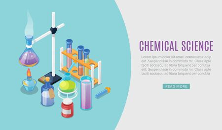 Chemistry science lab experiment flat design vector illustration concept. Chemist research laboratory workspace. Chemical reactions research web banner with cartoon flasks, beakers and substances. 向量圖像