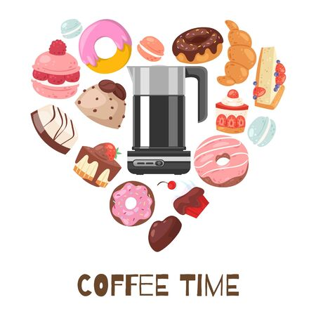 Coffee break heart shape vector illustration with chocolate muffins, biscuits, donuts and cakes, sweet bakery . Coffee pot poster, invitation, brochure, wallpaper. Coffee in the form of heart. 向量圖像