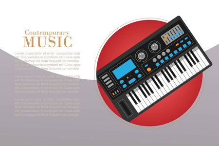 Contemporary music with electronic piano vector illustration. Music creation and modern music equipment poster. Musical synthetizer with typography and text space.