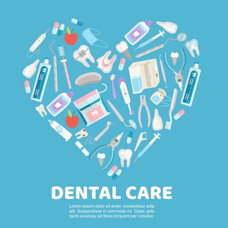 Dental care symbols in the shape of heart vector illustration. Dental floss, teeth, mouth, tooth paste and medical dentist instruments. Dental clinic and stomatologist poster. 向量圖像
