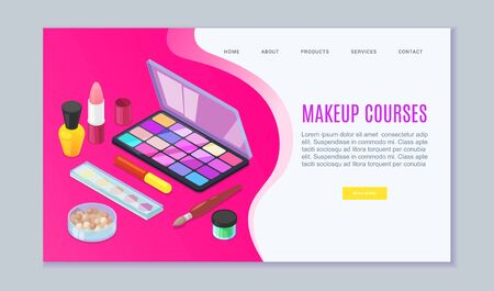 Makeup visagist and beauty courses of make up cosmetics studio web template, vector illustration. Brushes, eyeshadow make up and colors for make up artists.