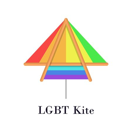 Rainbow LGBT kite flat icon or logo for homosexual minority concept vector illustration. LGBT gay and lesbian pride and freedom concept image. Illustration