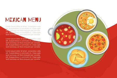 Mexican menu and national cuisine poster with traditional meal, hot soups, burrito top view vector illustration. Mexican cuisine hot soups, burrito and second dishes poster.