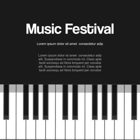 Festival de piano musical, concierto de piano, música clásica en vivo o jazz con cartel de ilustración de vector de teclas de piano. Teclado de piano blanco y negro para el cartel del festival de músicos. Ilustración de vector