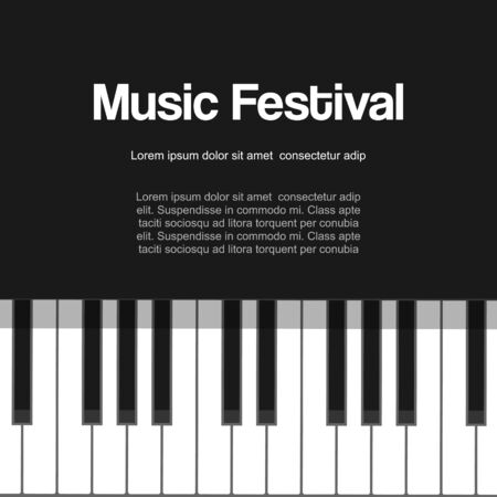 Musical piano festival, piano concert ,live classic or jazz music with piano keys vector illustration poster.Black and white piano keyboard for musician festival poster. Vetores