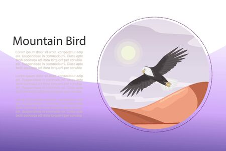Eagle, landscape with flying bird over the mountain landmark vector illustration banner. Mountaneous birds ornitology web site or banner. Bald eagle and sunset.