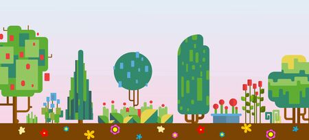 Pixelated nature scenery vector illustration, pixel art game process with nature, forest, trees, earth and flowers. Pixel green panorama for games banner.