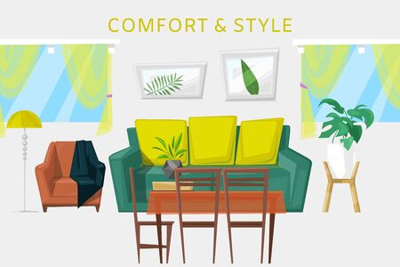 Modern interior with furniture cartoon room vector illustration. Living room with sofa, armchairs, coffee table, lamps and home plants, window curtains. Contemporary interior of furnished living room.