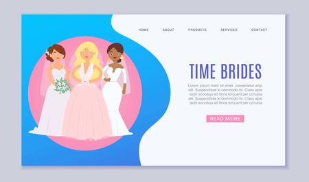 Wedding planning vector website template cartoon illustration. Wedding services, white dresses and ceremony for bride and groom. Website for newly wed or landing page.