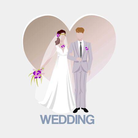 Sfondo di nozze con la sposa e lo sposo e il cuore del fumetto. Bellissimi sposi. Matrimonio e servizi di matrimonio, moda, stile, poster pubblicitario di bellezza.