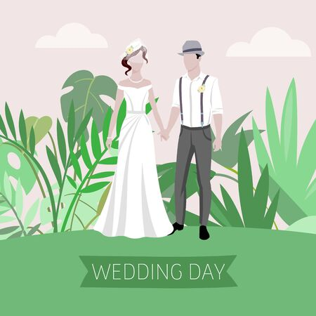 Wedding summer day background with bride and bridegroom outdoor on greenery plants background vector illustration. Beautiful bride and groom. Marriage and wedding day nature invitation.
