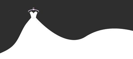 Ilustración de vector de banner de dibujos animados de vestidos de novia. Banner de agencia de paños de boda plana con velo de novia sobre fondo negro. Servicios de matrimonio y ceremonia matrimonial. Ilustración de vector