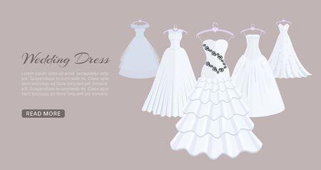 Wedding dresses on mannequin vector illustration. Fashion bride and bridesmaid wedding wear. White dress, accessories set, veil, swirls and chandelier. Bridal shower composition banner.