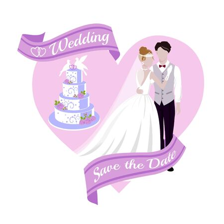 Sfondo di nozze con la sposa e lo sposo, la torta, l'insegna e l'illustrazione rosa di vettore del fumetto del cuore. Bellissimi sposi. Matrimonio e invito a nozze. Salva la data. Vettoriali