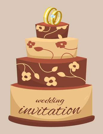 Wedding cake decorated with cream, rings, flowers and invitation words, cartoon vector illustration. Invitation card for wedding day with cake on brown background.