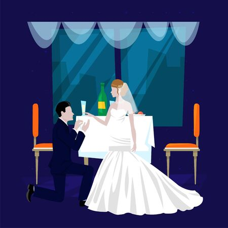 Wedding restaurant banquet hall cartoon vector illustration. Festive occasion, restaurant service for newly married couples bride and bridegroom. Restaurant hall interior. Catering for wedding party.