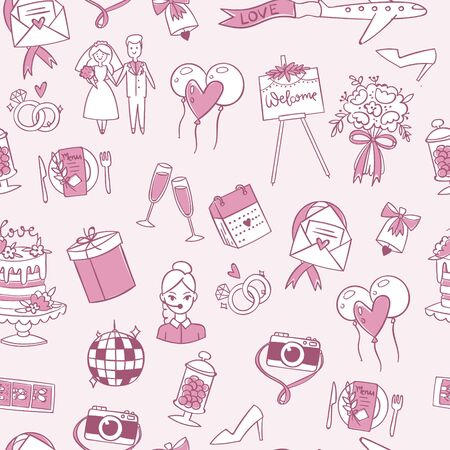 Wedding or Valentine s day seamless pattern vector illustration. Cute doodle texture with bride and groom, wedding cake, love and marriage symbols isolated on white background. 向量圖像