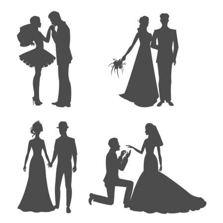 Cuadro negro de la silueta de la boda de la novia y el novio tomados de la mano ilustración vectorial. Silhoette de pareja de recién casados aislado en blanco. Decoración para papel tapiz, día de san valentín.