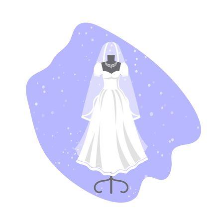 Wedding dress on mannequin vector illustration. Fashion bride and bridesmaid wedding wear. White dress, accessories set, veil, swirls and chandelier. Bridal shower composition banner. Illustration