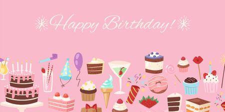 Happy birthday pink festive banner vector illustration. Invitation or greeting card template. Happy birthday party. Pink background with cakes, balloons, candy, gifts and capcakes, caps. Иллюстрация