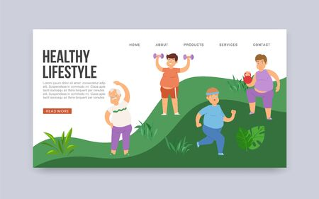 Fat obese men and healthy lifestyle vector web template. Illustration of overweight fatty guys training, doing exercises, jogging and workout. Healthy lifestyle and weight loss concept website. Çizim