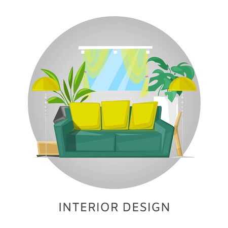 Living room interior with furniture cartoon vector illustration. Living room with sofa, lamp and home plants, windows. Contemporary interior design of furnished home in circle.