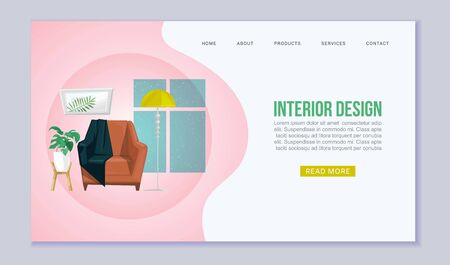 Home interior with furniture cartoon vector web banner. Living room furniture with armchair, plaid, lamp and home plants, windows. Contemporary interior of furnished home website or landing.  イラスト・ベクター素材
