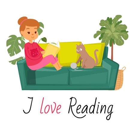 Girl reading book on sofa and cat home pet vector illustration. Kitten plays with threads ball and caucasian girl reads book in home interior. I love reading quote. Funny cartoon character.