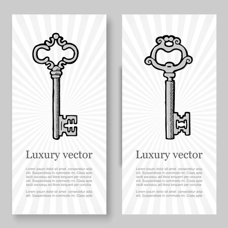 Old vintage keys vector banners set. Illustration of silver antique keys on retro background to lock and unlock any problem concept. Hotel, antique shop or luxury service banners concept.