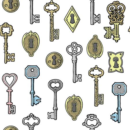 Vintage keys golden and silver and keyholes isolated on white vector seamless pattern. Illustration of antique keys and keyholes to lock and open backdrop for print, textile or wrapping. Illustration