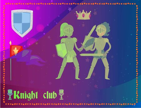 Cartoon knights in full armor fighting club, flag, crown and emblem in background, vector illustration. Knights club branding elements in english traditions for men.