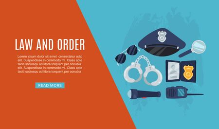 Police items law and order web banner vector illustration with policeman cap, handcuffs, glasses and walkie talkie. Equipment used by police officers for law and order.  イラスト・ベクター素材