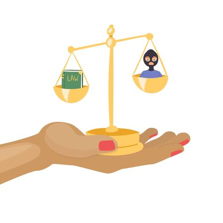 Law and justice with scales, law book and criminal cartoon vector illustration. Justice symbols background. Lawyers punishment and procedure.