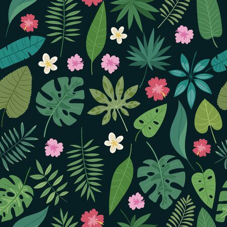 Seamless palm leaves and flowers exotic vector pattern. Tropical monstera leaves on black background. Cartoon jungles floral backdrop for wrapping or textile, paper print.