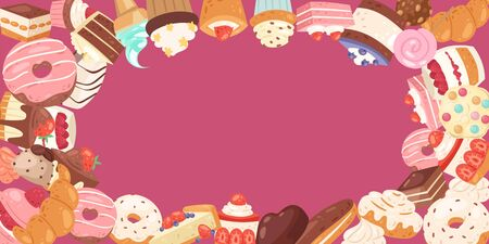 Patisserie background frame with sweets, desserts, cake and cupcakes around on pink, vector illustration. Sweet pastries and ice cream, donuts for menu, bakeries, card or cafe poster. 일러스트