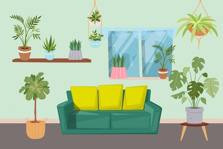 Living room interior with green plants and furniture cartoon vector illustration. Living room design with sofa and home plants in pots on shelves and window. Contemporary interior of green house.  イラスト・ベクター素材