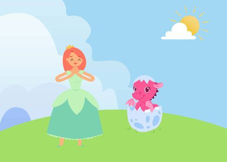 Magical fairytale with princess and baby dragon vector illustration. Pink cartoon newborn in egg shell. Collection for little girls and princess. Magical animals, pink dragon, fairy tale princess.