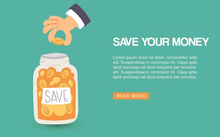 Save your money vector web illustration. Human hand puts money coins into jar, payment banking webpage or banner. Saving money ideas with golden coins. Text space and save your money quote.