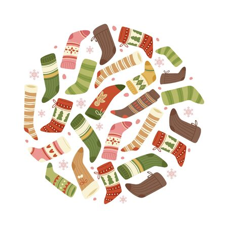 Colorful christmas socks and stockings vector illustration in circle isolated on white background. Xmas winter holiday socks are hanging for christmas gifts and presents banner or poster. Illustration